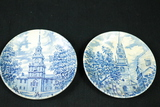 2 Liberty Blue Historic Colonial Scenes Plates