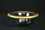 Footed Glass Bowl With Blue & Gold Trim