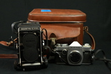 Ricoh Camera & Mamiya C330 Camera in Leather Case