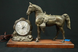 Cast Metal Horse & Clock