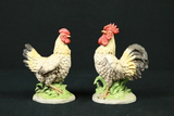 2 Porcelain Roosters