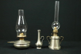 2 Pewter Oil Lamps & Pewter Vase