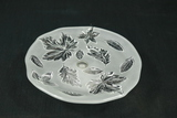 Leaf Pressed Glass Footed Cake Plate