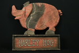 Harley Davidson Wooden Hog Wall Plaque