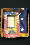 Box of 2 American Flags & Marine Plaque