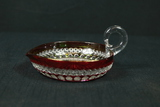 Ruby Pressed Glass Handle & Spout Dish