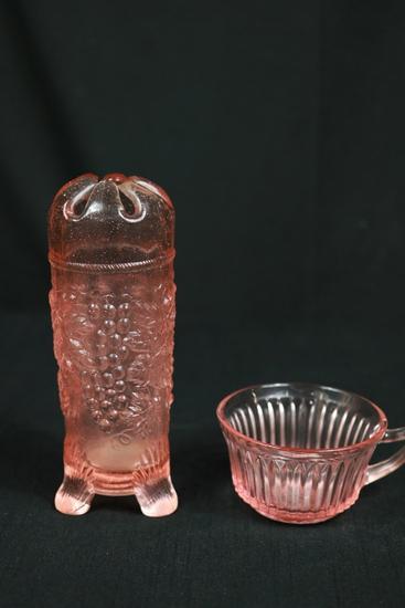 Depression Glass Hat Pin Holder & Bowl