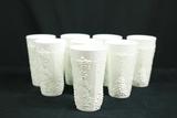 8 Milk Glass Cups