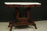 Marble Top Lyre Harp Table