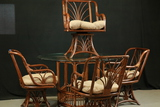 Glass Top Table & 4 Bamboo Chairs
