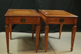 Pair of Leather Top Mahogany End Tables