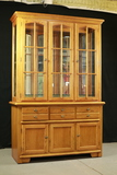 Oak China Cupboard with Glass Top