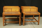 Pair of Oak End Tables with Stainless Steel Tops