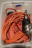 Box of Extension Cords & Shop Light