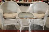 2 Wicker Chairs, Wicker Glass Top Table