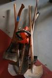 2 Shovels, Axe, Sledgehammer, Electric Hedge Trimmer