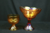2 Carnival Glass Footed Bowls