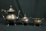Silver Plated Tea Pot, Sugar & Creamer