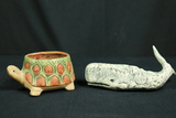 Turtle Pot & Clay Whale