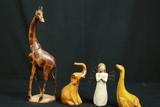 3 Wooden Animals & Willow Tree Angel