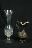 Glass Vase & Metal Pitcher