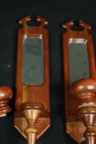 Pair of Wooden Wall Sconses with Mirror Back