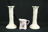 Pair of Porcelain Candle Sticks & Pitcher