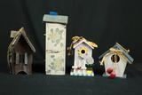 4 Wooden Bird Houses