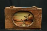 Wooden Box with Painted Glass Insert