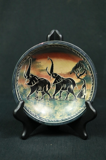 Carved Stone Elephant Bowl
