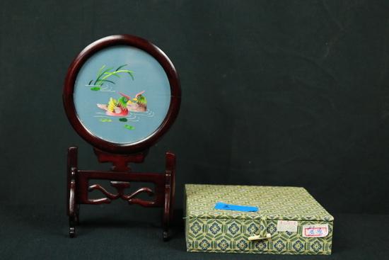 Oriental Silk Art On Stand