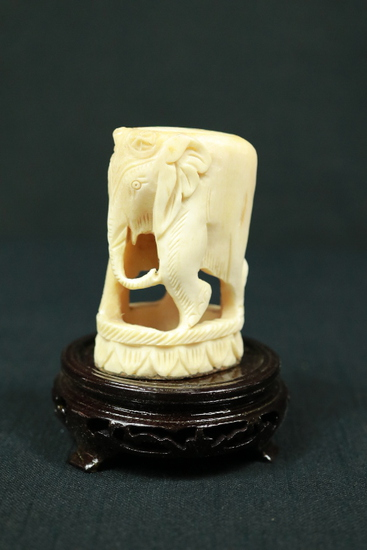 Bone Carved Elephant on Stand