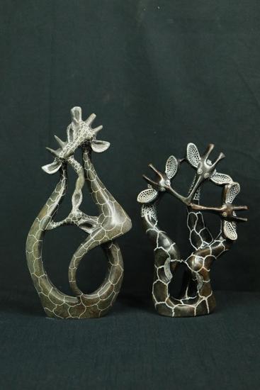 2 Stone Carved Giraffes