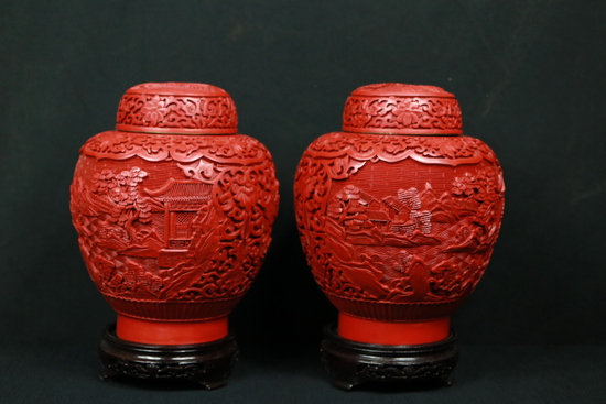 Pair of Cinnabar Ginger Jars on Stands