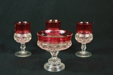3 Cranberry Cups & 1 Cranberry Footed  Bowl