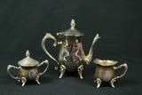 Silver Plated Tea Pitcher & Sugar/Creamer