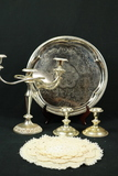 Silver Plated Candleavra, Pair of Candlesticks, Tray & Doilies