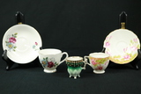 2 Cups & Saucers, 1 Small Hand Painted Cup