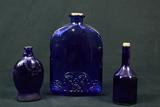 3 Cobalt Decanters