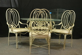 Wrought Iron Glass Top Table With Square & Round Glass, 4 Chairs
