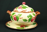 Fransican Apple Pattern Punch Bowl & Plate