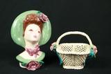Porcelain Figurine & Porcelain Basket
