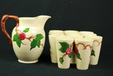 Fransican Apple Pattern Pitcher & 11 Cups