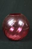 Cranberry Glass Round Vase