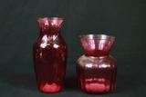 2 Cranberry Glass Vases