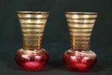 2 Gold Banded Vases