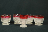 4 Pressed Glass Bowls & 1 Cup With Cranberry Trim