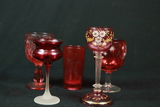 5 Cranberry Glass Cups