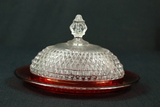 Pressed Glass Cranberry Butter Dish