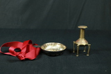 Brass Candle Stick Holder & Silver Plated Bowl With Ribbon